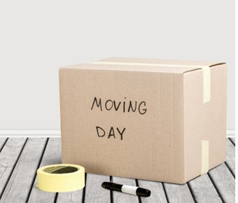 Cardboard box with 'moving day' written on it